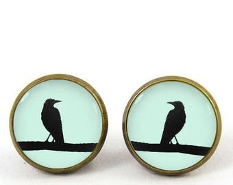 black crow earrings gothic raven stud earrings black white bird jewelry -with gift box