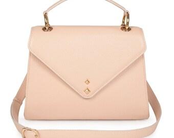 Leather Top Handle Bag, Beige Leather Handbag Top Handle, Women's Leather Bag KF-1168