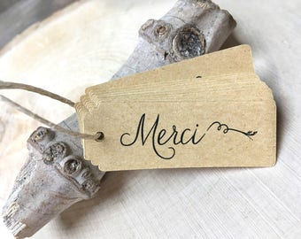"""Merci"" tags for gifts, 10 pieces"