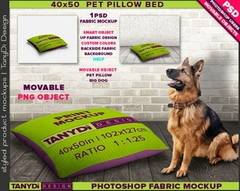 40x50 Pet Pillow Bed M2 | Photoshop Fabric Mockup M2-4050 | Movable pillow | Styled Scene | Wood floor | Big Dog | 102x127cm