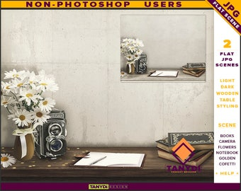 Table Styling   2 Styled JPG Scenes   Non-Photoshop   Vintage Table Flowers Camera   Books Notebook   Blank Empty wall