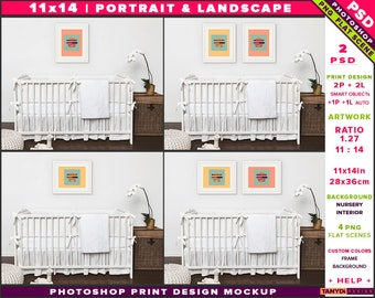 Nursery Interior Photoshop Print Mockup 1114-N2 | Portrait & Landscape Set of 2 White Frames | White crib | Smart object Custom colors