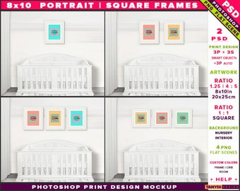 Nursery Interior Photoshop Print Mockup 810-N13 | Square & Portrait Set of 3 White Frames | White Crib | Smart object Custom colors