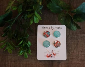 Blue and red flower studs
