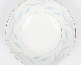 "1940's VALMONT, China Japan, ""Royal Wheat"", Porcelain Serving Bowl, Excellent Cond., 9-1/4"" D X 2-3/4"" H,  Blue and Purple Wheat on White"