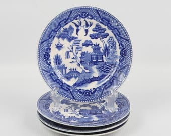 """1930's Made in Japan, Blue Willow, 6"""" Diameter Plates, Excellent Condition, No Damage."""