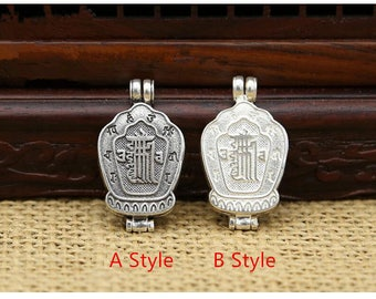 New Sterling Silver Jewelry Pendant 6 Mantra Magic Prayer Word Buddha Amulets Lockets Nice Lucky GAU 925 Lucky Good Life Bottle Gift Sale