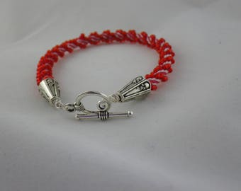 Red and White Candy Cane 7.75 inch Kumihimo Bracelet (WB122)