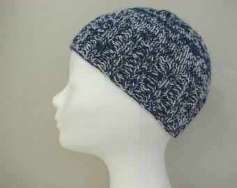 Beanie, hand knit hat dark blue white kids hat size 6 - 11 yrs silk alpaca multi color hat boy girl hat child navy white beanie Snowy Hill