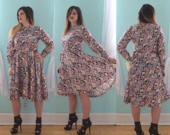 Vintage 1970s Kevin Stuart Pink Purple and Black Floral Print Dress 90s Grunge Summer Modest Sleeves Deadstock NOS NWT Large L Size 12 14