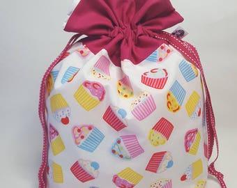 "Medium Lined DRAWSTRING Bag, CUPCAKE, #83, 13""x8""x4"", project bag, storage bag"
