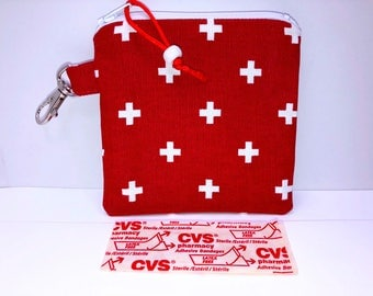 First Aid Bag, 4.5 x 4.5 inches Bandages Pouch, Ripstop Lining, Child's First Aid Pouch, Travel First Aid Pouch