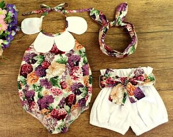 Presale Flower collar romper bloomer headband set for baby girls, cute newborn baby shower gift photo prop outfit