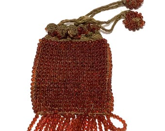 Art Deco Beaded Bag, Antique 1920s, Fringed Flapper Bag, 2 Tone, Amber Glass Bead, Drawstring Bag, Silk Hand Crocheted, Vintage Beaded Bag