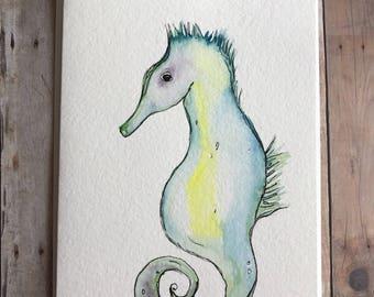 Seahorse Card, Watercolor Seahorse Card, Hand Painted Seahorse Card