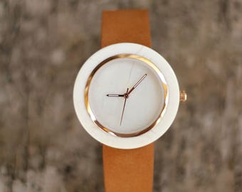 Ivory white Marble Watch Real Stone Watch