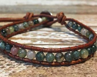 Moss Agate Bracelet / Healing Bracelet / Yoga Bracelet / Crystal Healing Bracelet