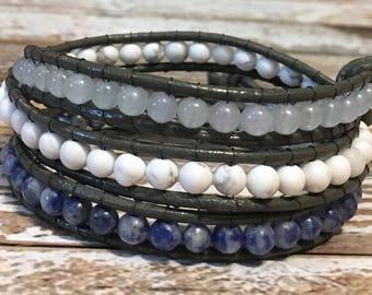 Chan Luu Bracelet / Crystal Jewelry / Blue Wrap Bracelet / Healing Crystal Bracelet / Chakra Bracelet