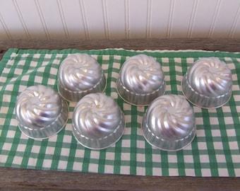 Vintage Aluminum Molds, Jello Molds, Dessert Molds, Set of 6