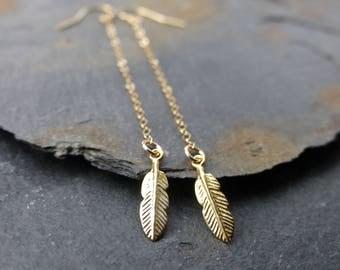 Feather earrings, 14k gold filled, long dangle earrings, boho jewelry, bohemian earrings, minimalist earrings, lightweight earrings
