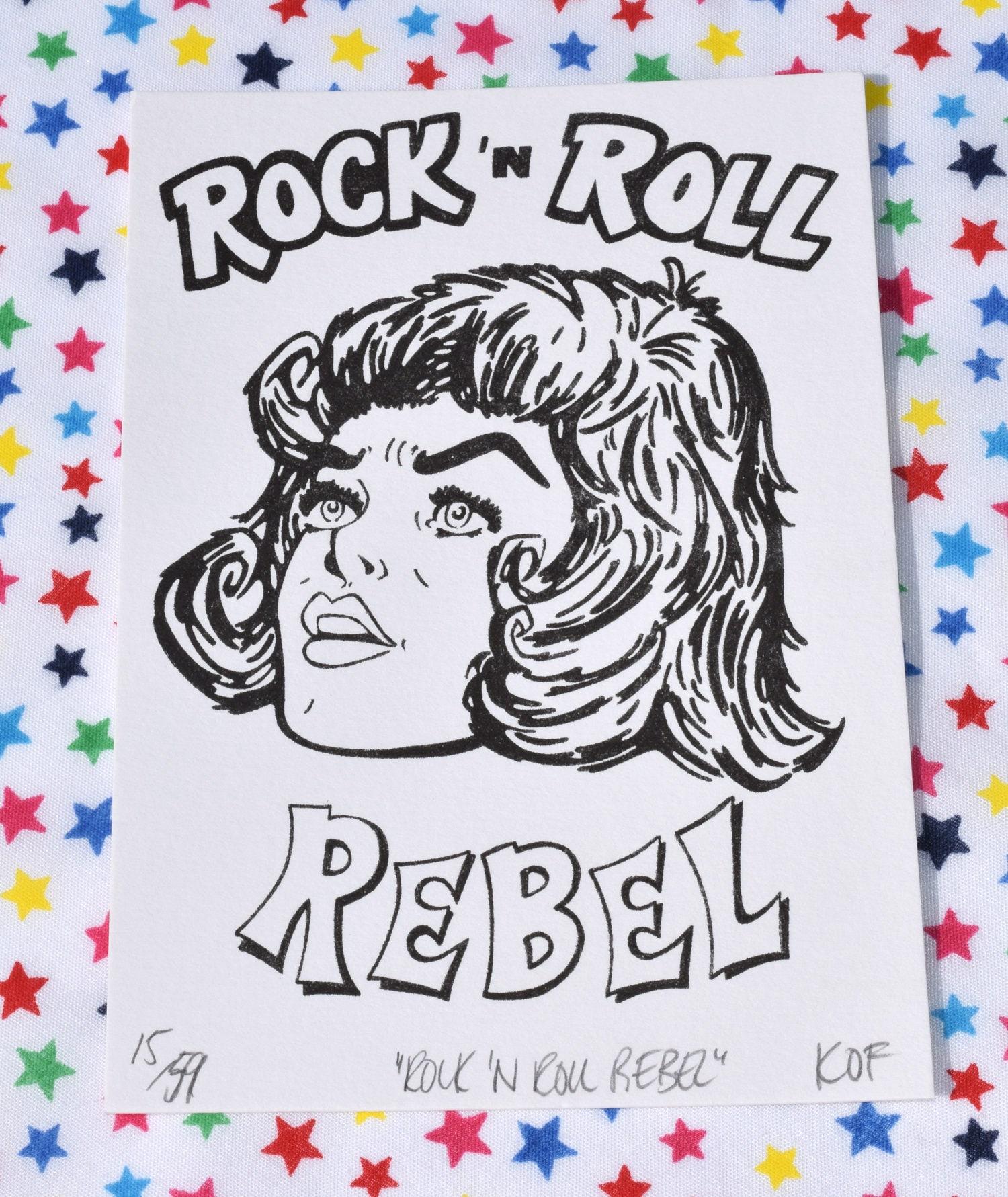 rock 39 n roll print rock 39 n roll rebel retro. Black Bedroom Furniture Sets. Home Design Ideas