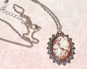 Rose Cameo Necklace  Classic  Victorian Pendant Vintage Style Steampunk Antique Silver Style