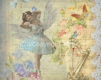 On Sale- Printableb Digital Quickpage Collage Ballet Ballerina Fairy Decoupage Vintage Butterfly Woman Instant Download Supply Scrapbooking