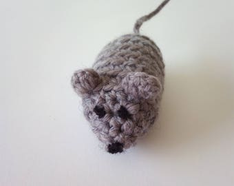 Toy for cats,Crochet Mouse, Crochet Toy, Mouse Toy, Cat's Toy, Kittens Toy, Grey Mouse, Baby Toy, Handmade Toy.