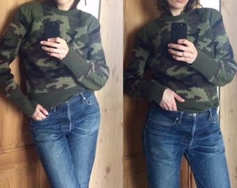 Pure wool camo sweater in excellent condition vintage style workwear isabel