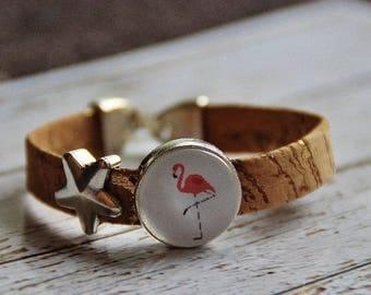Bracelet made of cork and flamingo Cork Bracelet