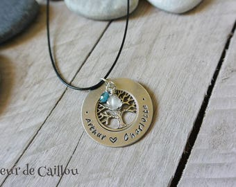 Engraved necklace with children names & birthstones
