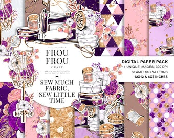 Sewing Digital Paper Pack, Fashion Tailor Paper Pack, Crafter Planner Girl Supplies, Cute Fabric, Gold Glitter Lavender Designer Paper Pad