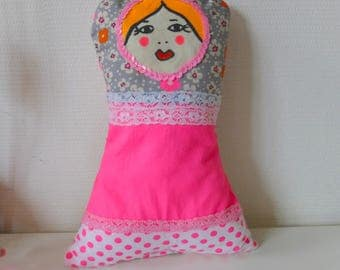 Russian doll cotton and lace pillow.