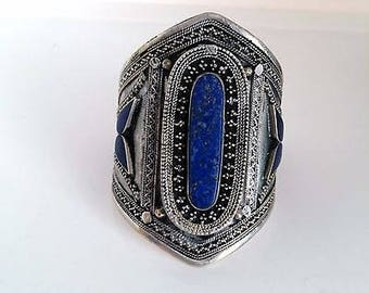 Tall Afghan Cuff Bracelet Tribal Ethnic Statement Boho Chic Jewelry Lapis Blue
