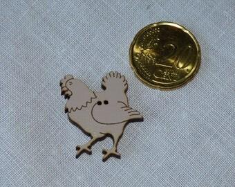 Wooden chicken Sepia collar button