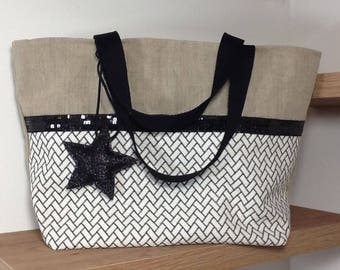 Tote bag in linen and black glitter with black and white patterns and sequined star