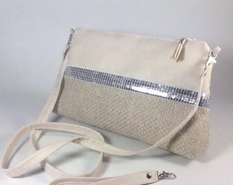 Off white shoulder bag in woven linen and alcantara with silver glitter