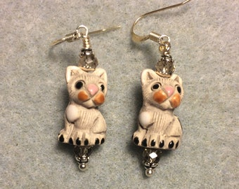 Small grey ceramic cat bead earrings adorned with clear Chinese crystal beads.