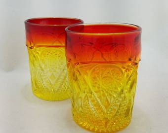 Two Amberina Hobstar Pressed Glass Tumblers, Vintage Glasses