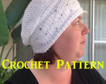 Crochet Hat Pattern, Cable Crochet Pattern, Slouchy Hat Pattern, PDF Cables, How to Make a Hat, How to Crochet, Winter Hat Pattern, Cables