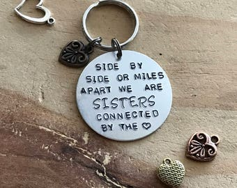 Sister keychain sister gift long distance sister sister quotes gifts for sister hand stamped keychain sister birthday gift quote keychain