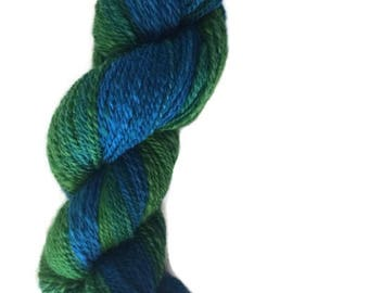Gradient Yarn - Ombre Yarn - Ombre Handspun Wool - Sport Weight Merino Wool - Handspun Yarn - Hand Dyed Wool - Blue to Green
