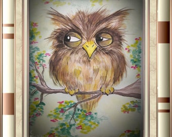 Watercoulor Owl Painting
