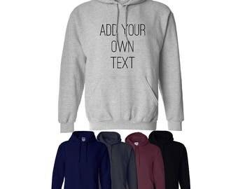 Custom Print Your Own Any Text Hoodie Hood Unisex Mens Womens Workwear UK Ships Worldwide S-XXL