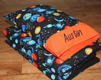 """Boy Nap Mat Cover & Personalized Toddler Pillow Planets/Outer Space, Orange (Fits 5/8""""x19""""x45"""" or 1""""x19""""x45"""" or 2""""x19""""x44"""" Vinyl Mat)"""