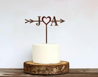 Rustic Wedding Arrow Cake Topper,Custom Cake Topper,Bridal Shower Cake Topper,Cake Toppers for Weddings,Rustic Wedding Cake Topper, AH001