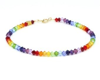 Rainbow bracelet;Rainbow;Swarovski bracelet;Beaded bracelet;Crystal bracelet;Swarovski crystals;Swarovski;Gold filled clasp;Vermeil;Delicate
