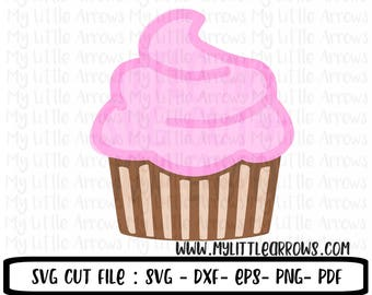 Cupcake SVG, DXF, EPS, png Files for Cutting Machines Cameo or Cricut - cupcake svg - cupcake party - birthday svg - cupcake cut file - dxf