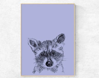 Raccoon illustration print - Digital Download