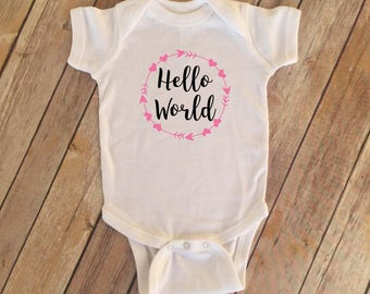Hello World Bodysuit | Hello World Arrow |  Baby Hospital Outfit | Baby Announcement